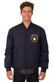Milwaukee Brewers Wool & Leather Reversible Jacket w/ Embroidered Logos - Charcoal/Navy - JH Design