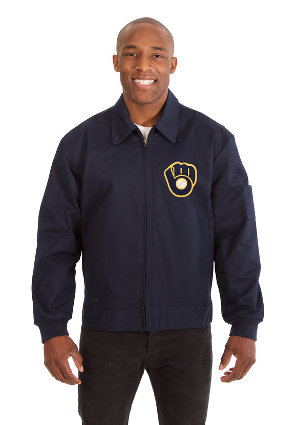 Milwaukee Brewers Cotton Twill Workwear Jacket - Navy