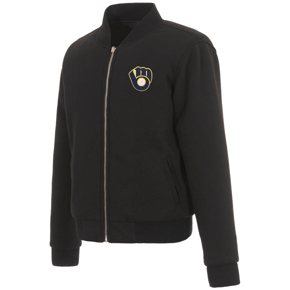 Milwaukee Brewers JH Design Reversible Women Fleece Jacket - Black - JH Design