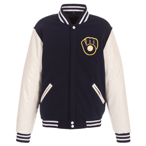 Milwaukee Brewers - JH Design Reversible Fleece Jacket with Faux Leather Sleeves - Navy/White - JH Design