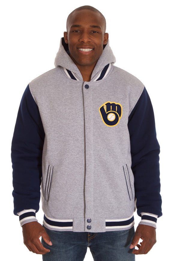 Milwaukee Brewers Two-Tone Reversible Fleece Hooded Jacket - Gray/Navy