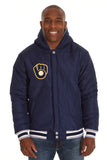 Milwaukee Brewers Two-Tone Reversible Fleece Hooded Jacket - Gray/Navy - J.H. Sports Jackets