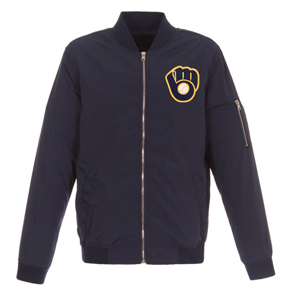 Milwaukee Brewers JH Design Lightweight Nylon Bomber Jacket – Navy - JH Design