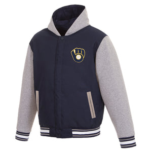 Milwaukee Brewers Two-Tone Reversible Fleece Hooded Jacket - Navy/Grey - JH Design