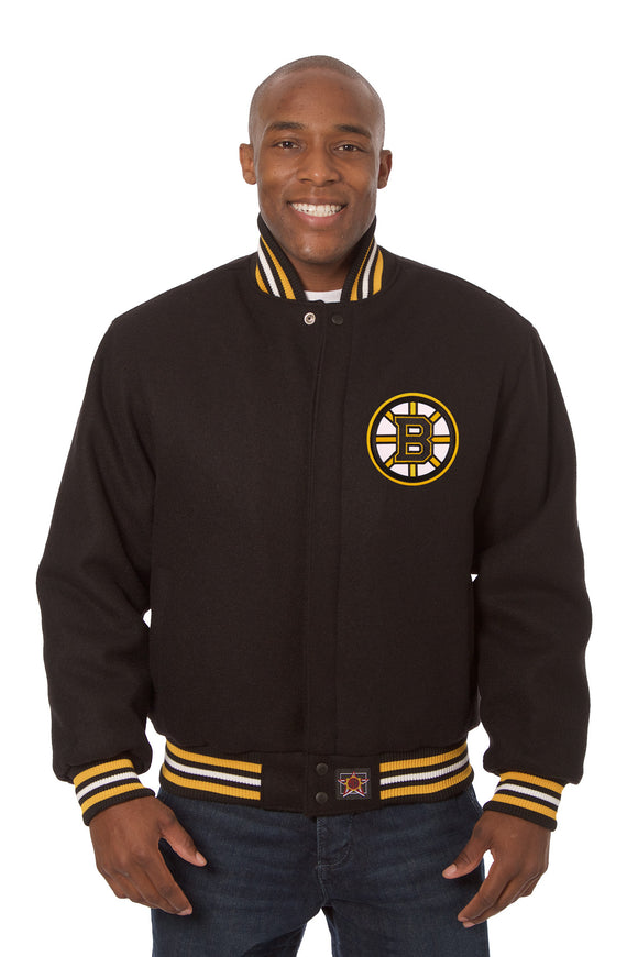 Boston Bruins Embroidered Wool Jacket - Black - JH Design