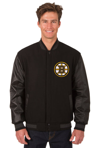 Boston Bruins Wool & Leather Reversible Jacket w/ Embroidered Logos - Black