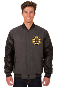 Boston Bruins Wool & Leather Reversible Jacket w/ Embroidered Logos - Charcoal/Black - J.H. Sports Jackets
