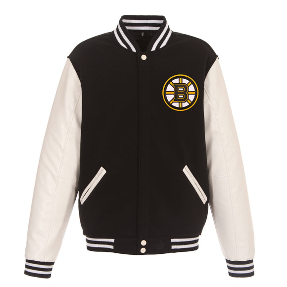 Boston Bruins JH Design Reversible Fleece Jacket with Faux Leather Sleeves - Black/White - JH Design