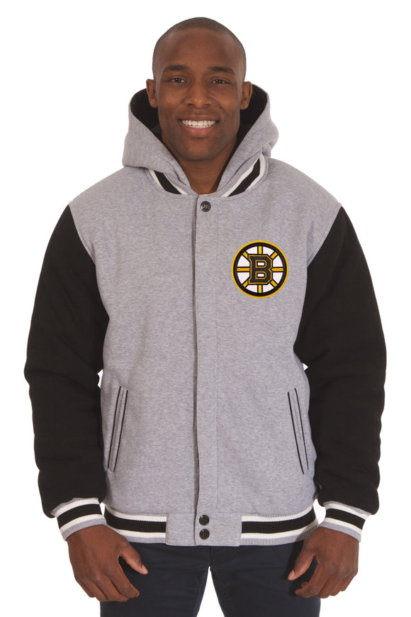Boston Bruins Two-Tone Reversible Fleece Hooded Jacket - Gray/Black