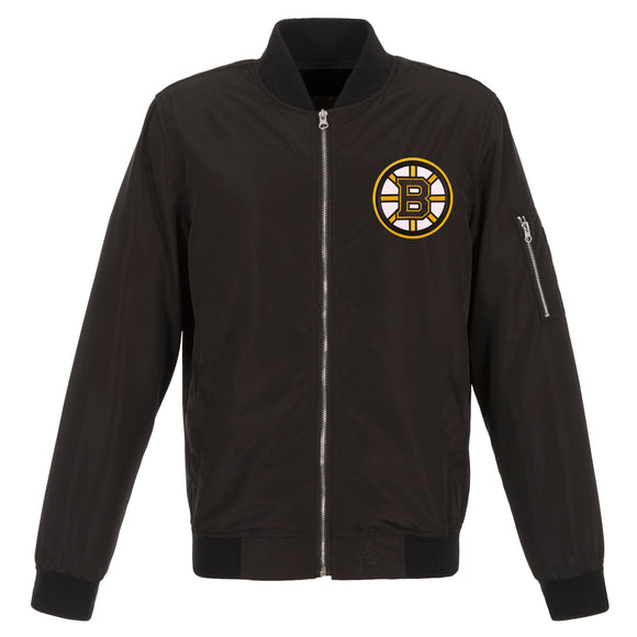 Boston Bruins JH Design Lightweight Nylon Bomber Jacket – Black
