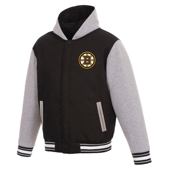 Boston Bruins Two-Tone Reversible Fleece Hooded Jacket - Black/Grey - JH Design