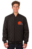 Cleveland Browns Wool & Leather Reversible Jacket w/ Embroidered Logos - Black