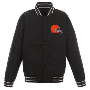 Cleveland Browns Poly Twill Varsity Jacket - Black - JH Design