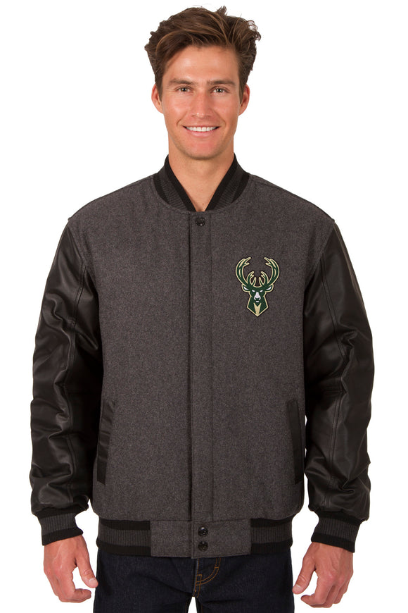 Milwaukee Bucks Wool & Leather Reversible Jacket w/ Embroidered Logos - Charcoal/Black - JH Design