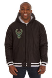 Milwaukee Bucks Two-Tone Reversible Fleece Hooded Jacket - Gray/Black - J.H. Sports Jackets