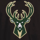 Milwaukee Bucks Two-Tone Reversible Fleece Hooded Jacket - Black/Grey - JH Design