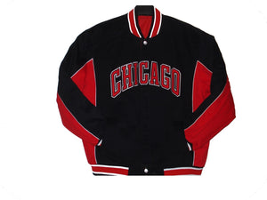 Chicago Bulls Twill Varsity Jacket - Black/Red - J.H. Sports Jackets