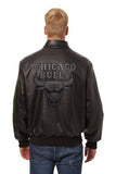 Chicago Bulls Full Leather Jacket - Black/Black