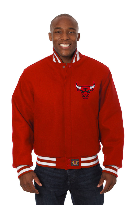 Chicago Bulls Embroidered Wool Jacket - Red