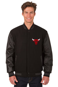 Chicago Bulls Wool & Leather Reversible Jacket w/ Embroidered Logos - Black - JH Design