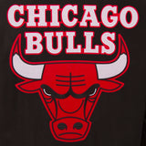 Chicago Bulls Wool & Leather Reversible Jacket w/ Embroidered Logos - Black - J.H. Sports Jackets