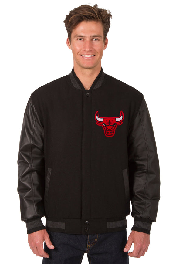 Chicago Bulls Wool & Leather Reversible Jacket w/ Embroidered Logos - Black