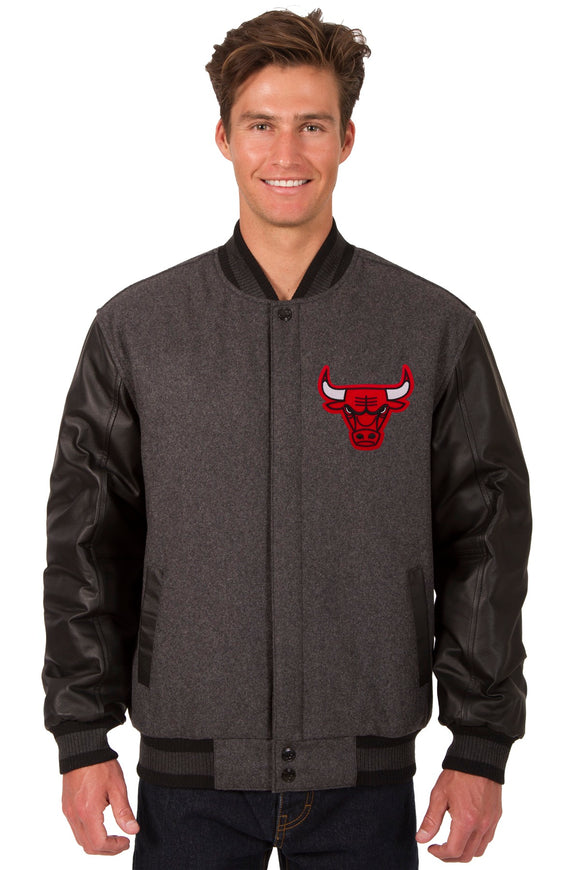 Chicago Bulls Wool & Leather Reversible Jacket w/ Embroidered Logos - Charcoal/Black
