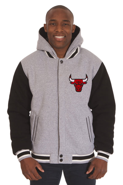 Chicago Bulls Two-Tone Reversible Fleece Hooded Jacket - Gray/Black