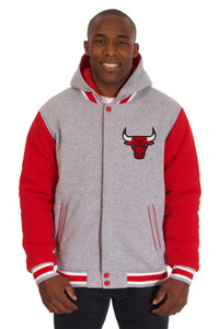 Chicago Bulls Two-Tone Reversible Fleece Hooded Jacket - Gray/Red - JH Design
