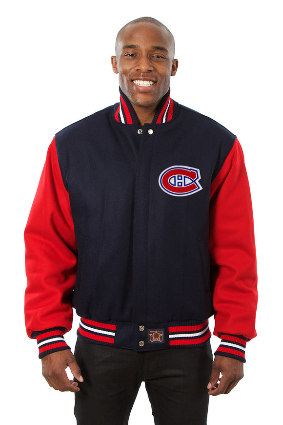Montreal Canadiens Embroidered Wool Jacket - Navy/Red - JH Design