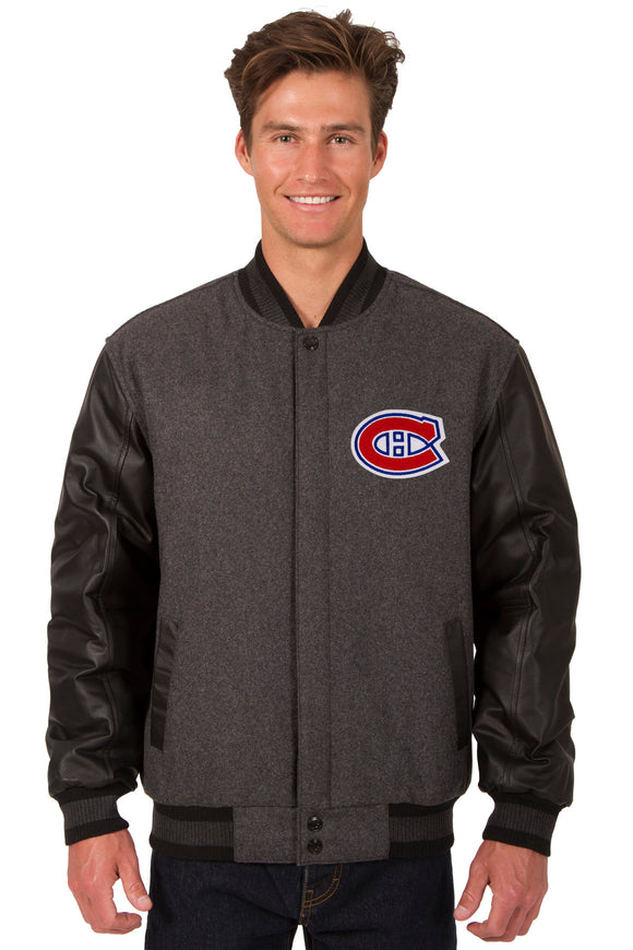 Montreal Canadiens Wool & Leather Reversible Jacket w/ Embroidered Logos - Charcoal/Black