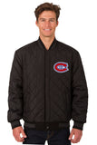 Montreal Canadiens Wool & Leather Reversible Jacket w/ Embroidered Logos - Charcoal/Black - JH Design