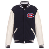 Montreal Canadiens JH Design Reversible Fleece Jacket with Faux Leather Sleeves - Navy/White - JH Design