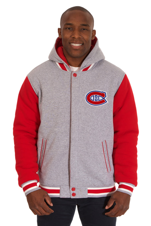 Montreal Canadiens Two-Tone Reversible Fleece Hooded Jacket - Gray/Red