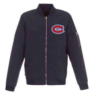 Montreal Canadiens JH Design Lightweight Nylon Bomber Jacket – Navy - JH Design