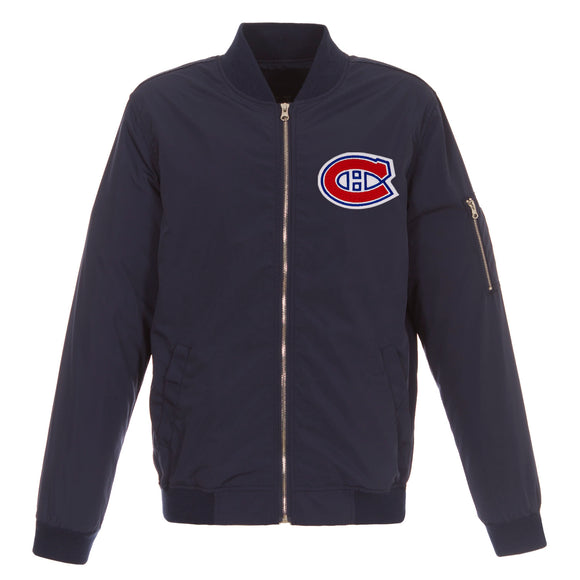 Montreal Canadiens JH Design Lightweight Nylon Bomber Jacket – Navy