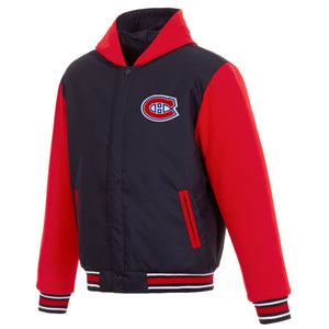 Montreal Canadiens Two-Tone Reversible Fleece Hooded Jacket - Navy/Red - JH Design