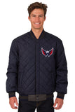 Washington Capitals Wool & Leather Reversible Jacket w/ Embroidered Logos - Charcoal/Navy