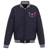 Washington Capitals JH Design Reversible Fleece Jacket with Faux Leather Sleeves - Navy/White - JH Design