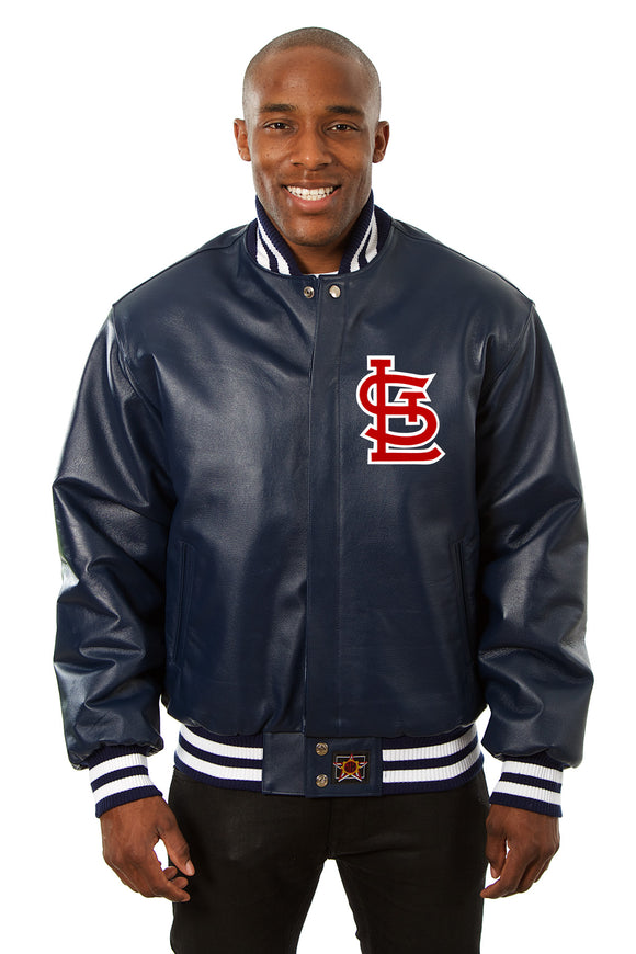 St. Louis Cardinals Full Leather Jacket - Navy