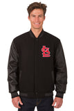 St. Louis Cardinals Wool & Leather Reversible Jacket w/ Embroidered Logos - Black - JH Design