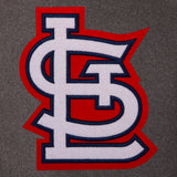 St. Louis Cardinals Wool & Leather Reversible Jacket w/ Embroidered Logos - Charcoal/Black - JH Design