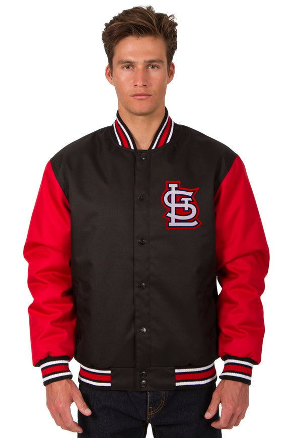 St. Louis Cardinals Poly Twill Varsity Jacket - Black/Red - JH Design