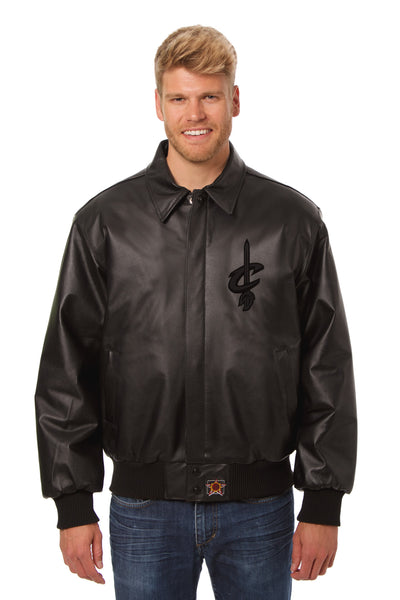 Cleveland Cavaliers Full Leather Jacket - Black/Black