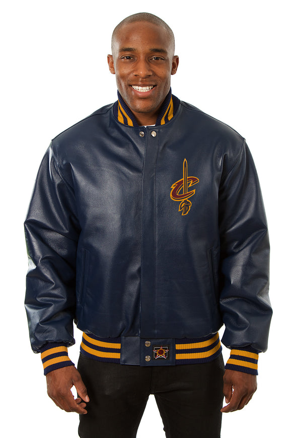 Cleveland Cavaliers Full Leather Jacket - Navy - JH Design