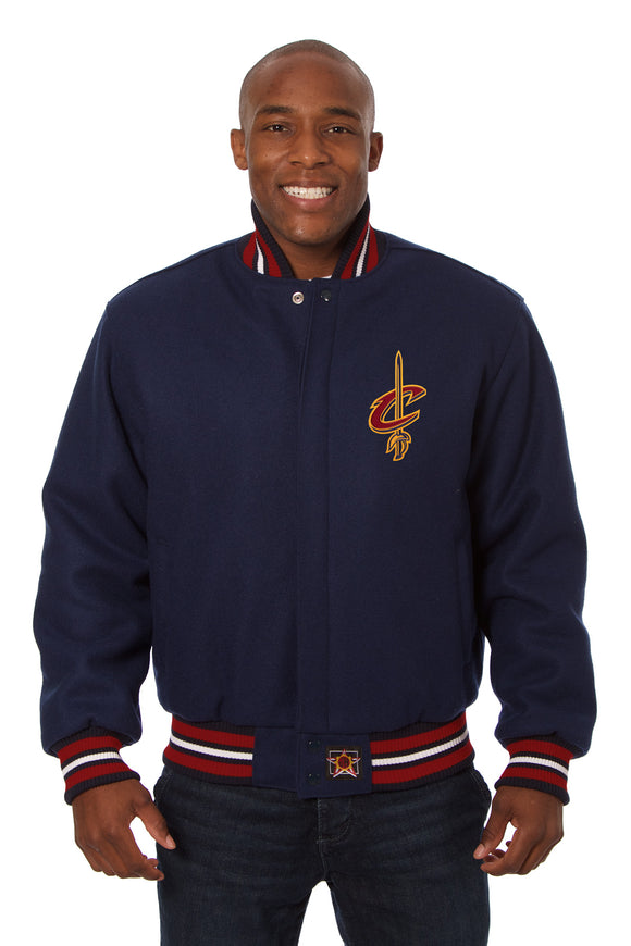 Cleveland Cavaliers Embroidered Wool Jacket - Navy - JH Design
