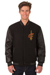 Cleveland Cavaliers Wool & Leather Reversible Jacket w/ Embroidered Logos - Black