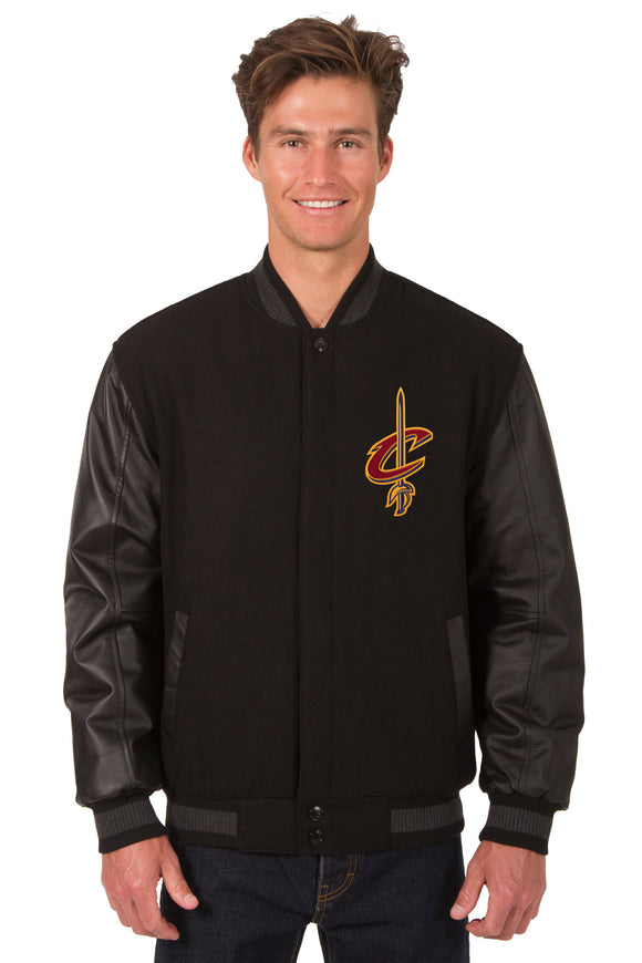 Cleveland Cavaliers Wool & Leather Reversible Jacket w/ Embroidered Logos - Black - JH Design
