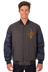 Cleveland Cavaliers Wool & Leather Reversible Jacket w/ Embroidered Logos - Charcoal/Navy - JH Design