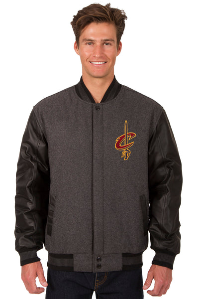Cleveland Cavaliers Wool & Leather Reversible Jacket w/ Embroidered Logos - Charcoal/Black